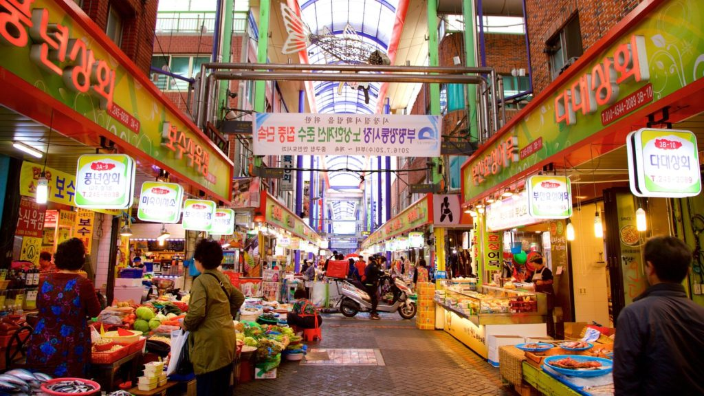 Gukje Market in Busan. Of the traditional markets in Korea, this one is famous for international goods.