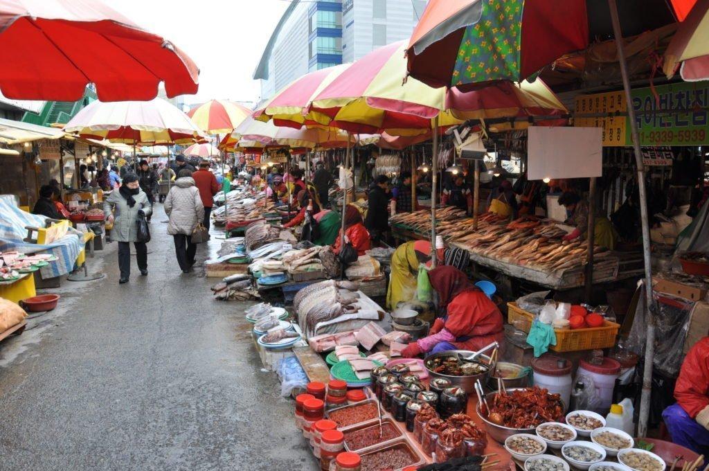 Jagalchi fish market in Busan, South Korea