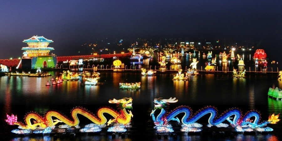 Floating Lanterns in front of the Fortress at the Jinju Lantern Festival, South Korea
