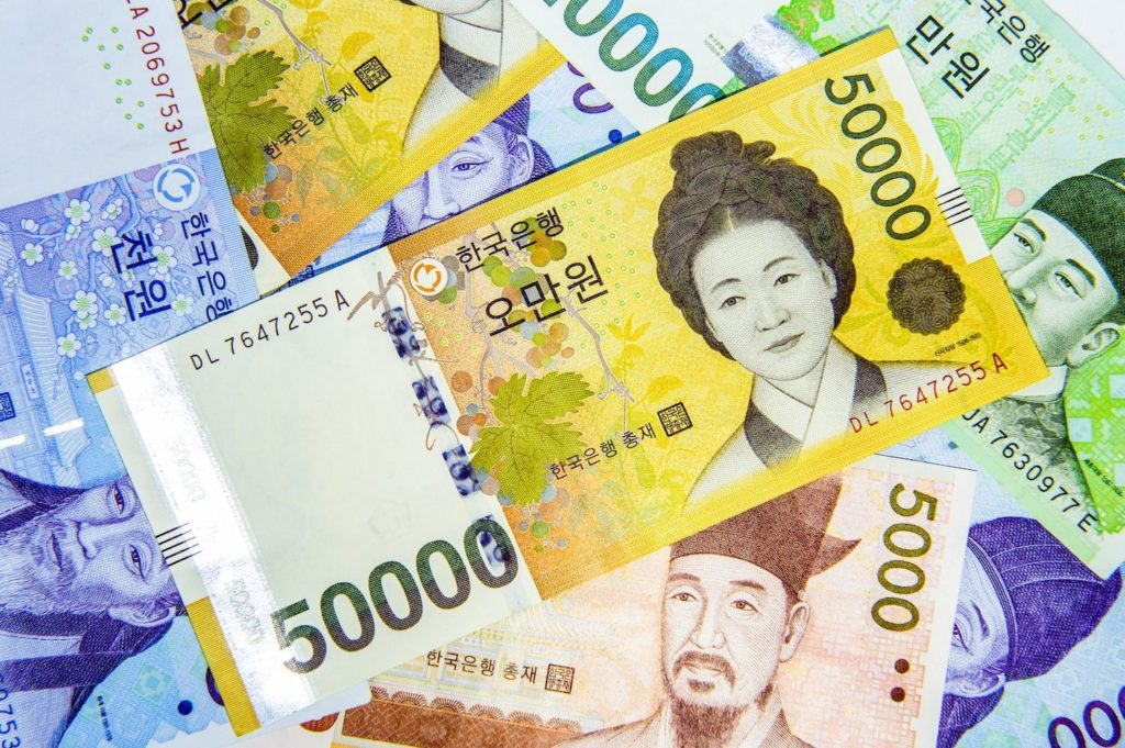 Korean won, the main currency used in South Korea