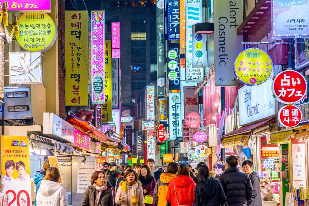 View of Myeongdong Market.