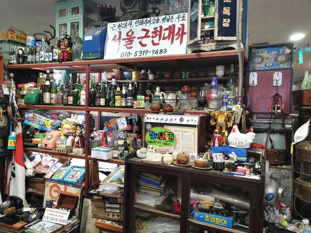Antiques for sale at the Seoul Folk Flea Market in Seoul, South Korea