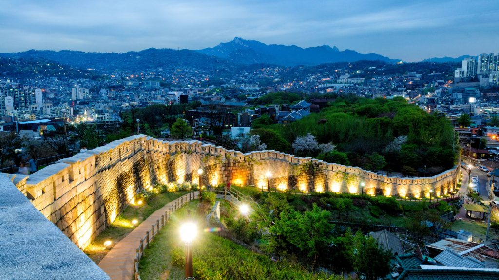 Seoul's fortress walls are great for hiking at night during summer in Korea.
