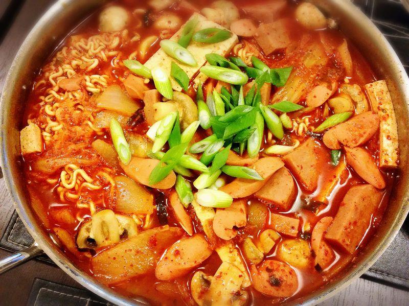 A big bowl of traditional Korean army stew, or budae jjigae