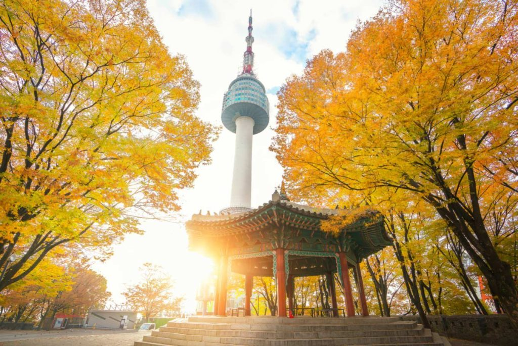 Namsan Mountain and N Seoul Tower with autumn leaves in South Korea