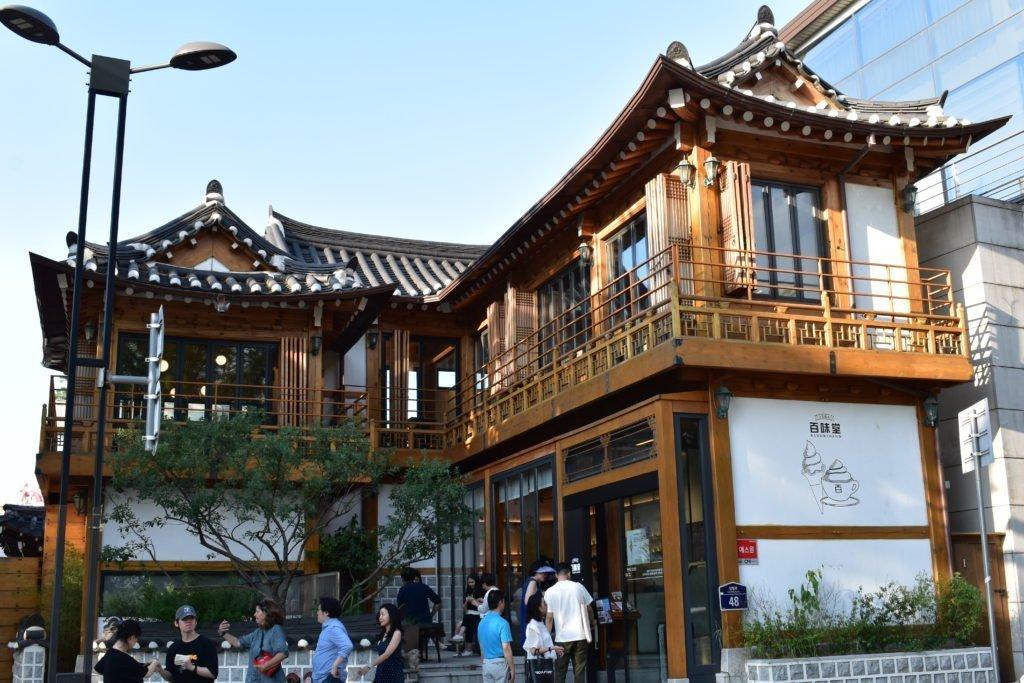 Traditional Tea Houses and Cafes in Bukchon Hanok Village, Seoul, South Korea