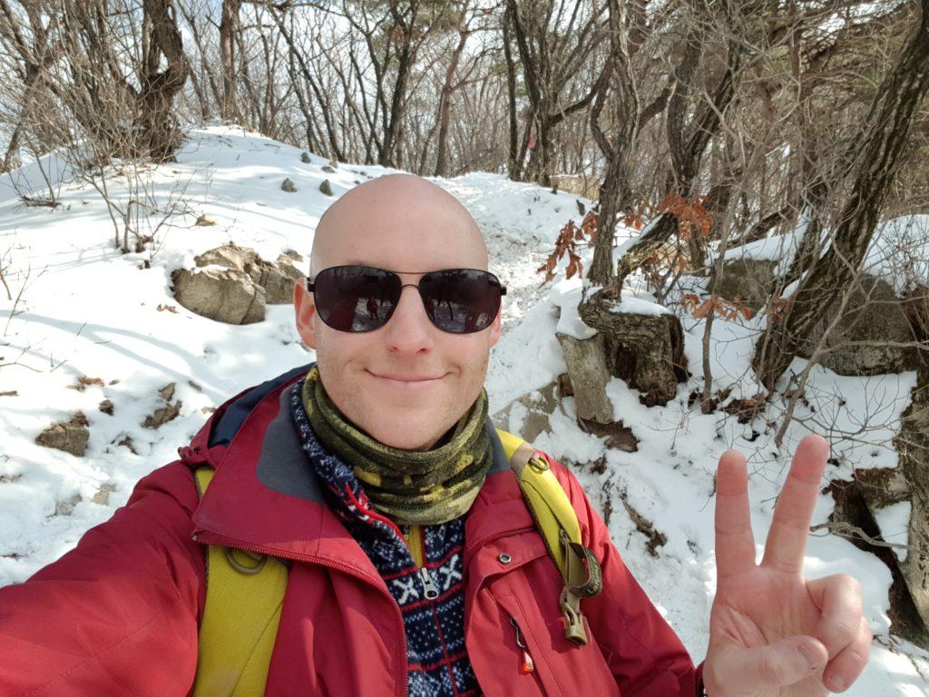Me hiking in winter in Korea