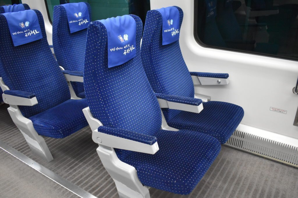 Seats on the AREX train from Incheon Airport to Seoul