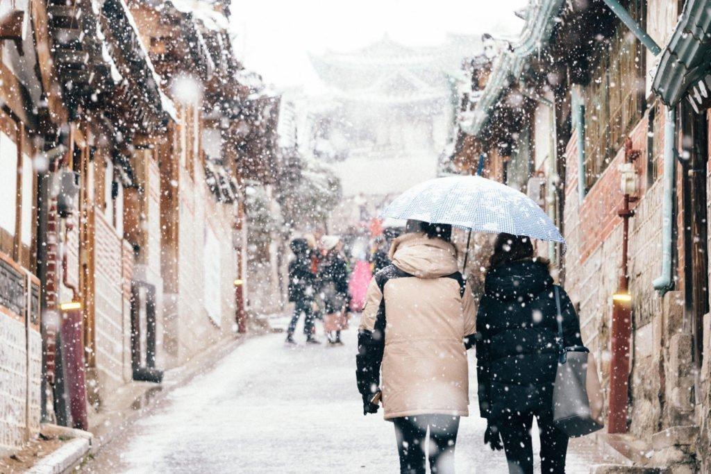 Bukchon Hanok Village In Seoul Covered In Snow