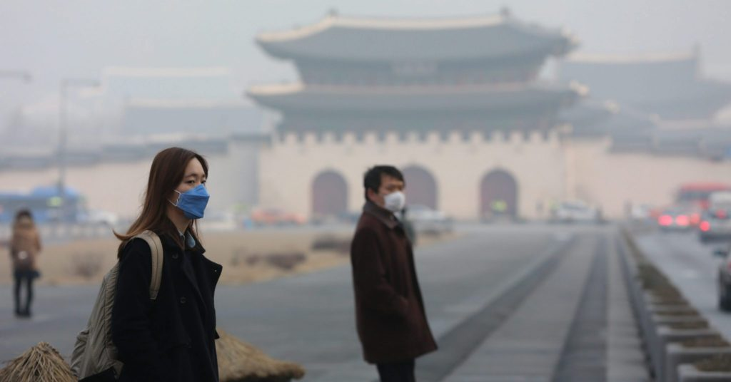 People wearing fine dust masks in Korea