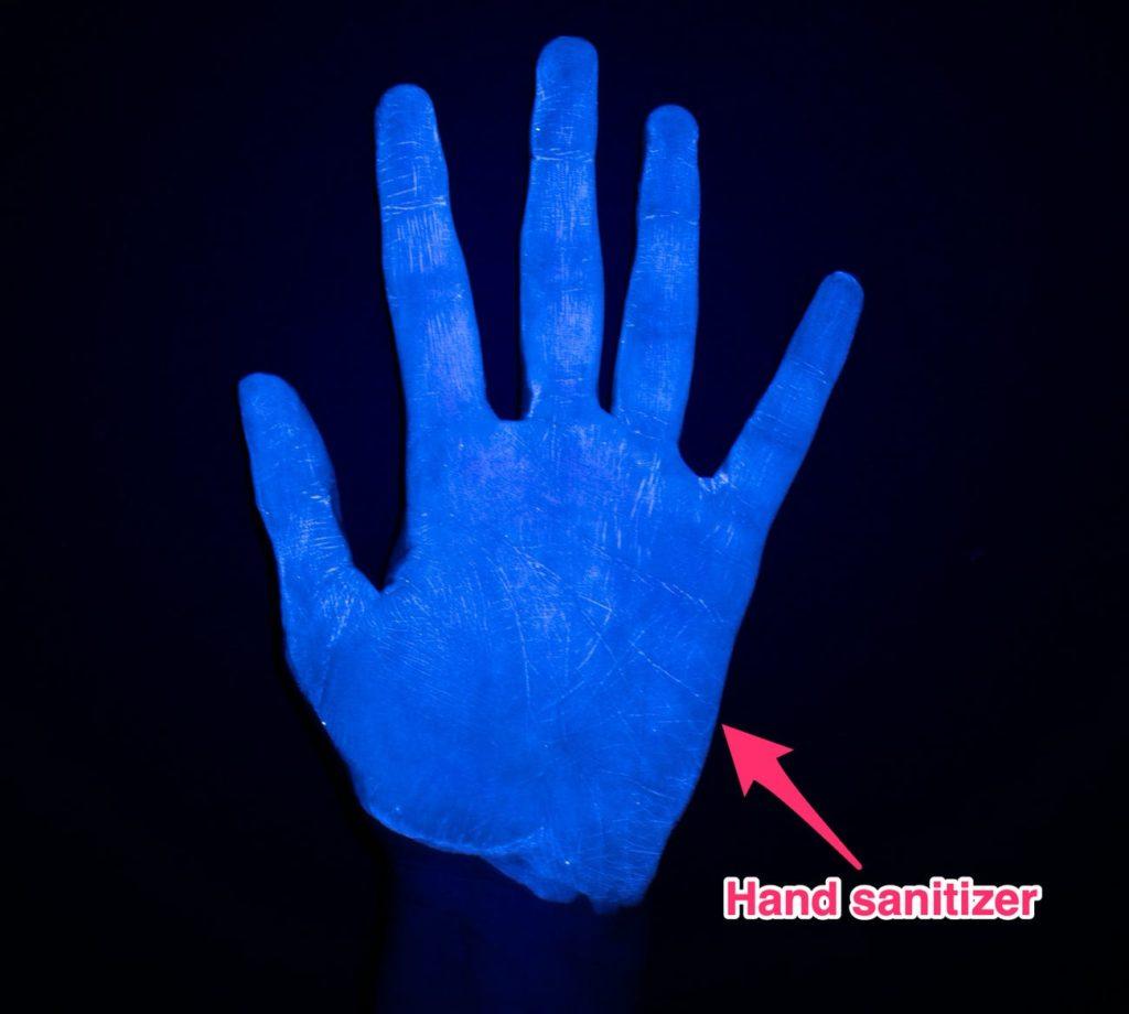 Hand sanitizer blue light picture