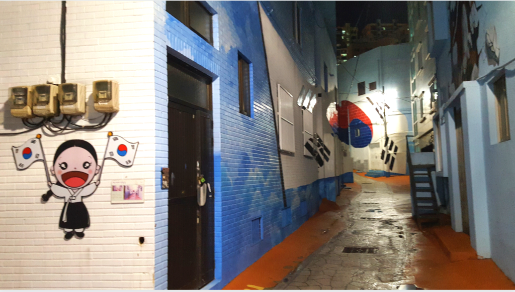 Street in Korea With Korean Flags