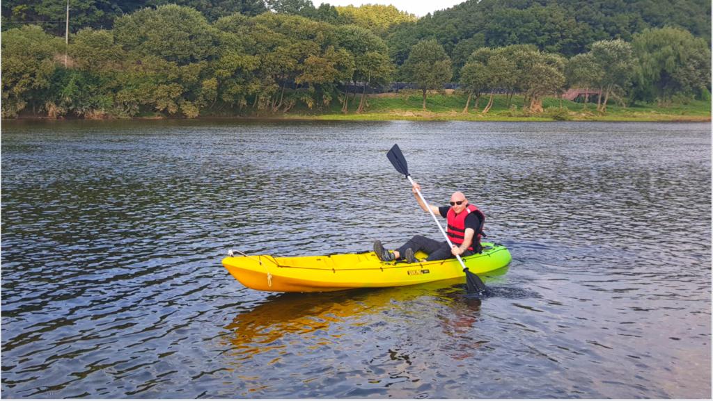 Joel kayaking in Korea