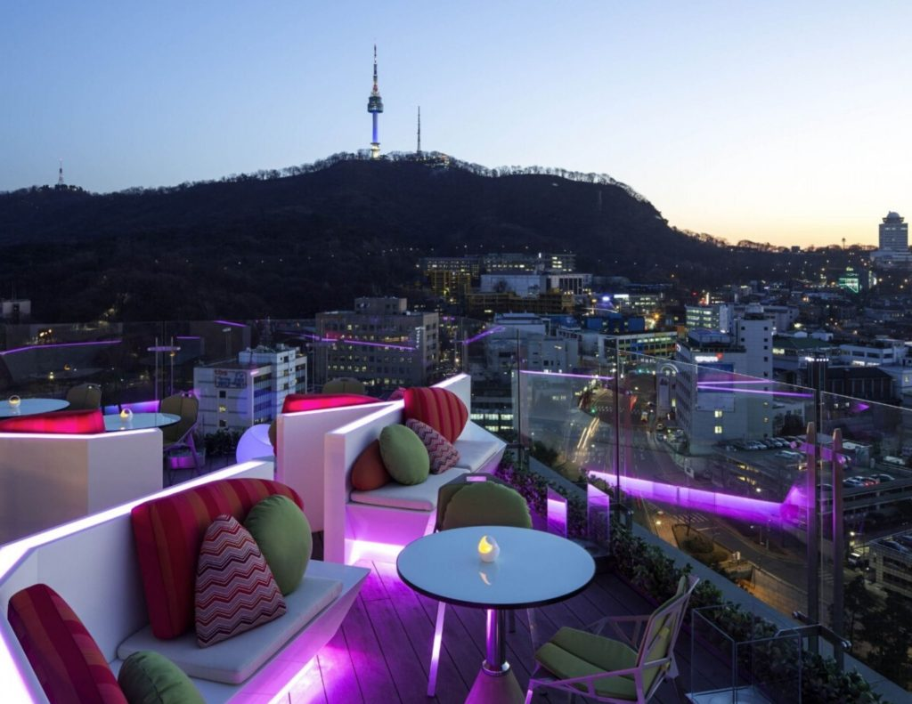 Rooftop Bars are cool places to spend nights during summer in Korea