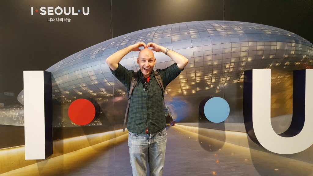 Joel with the I Seoul U sign in Seoul