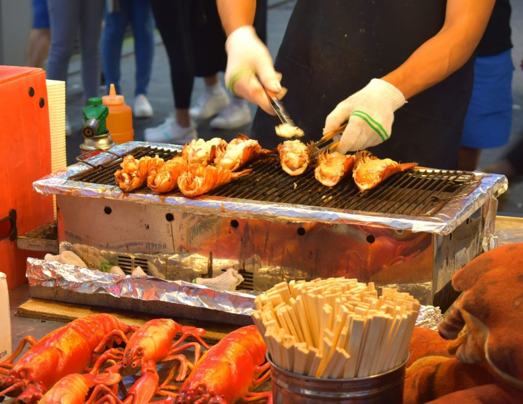 Delicious street food for sale in the markets in Myeongdong, Seoul, South Korea