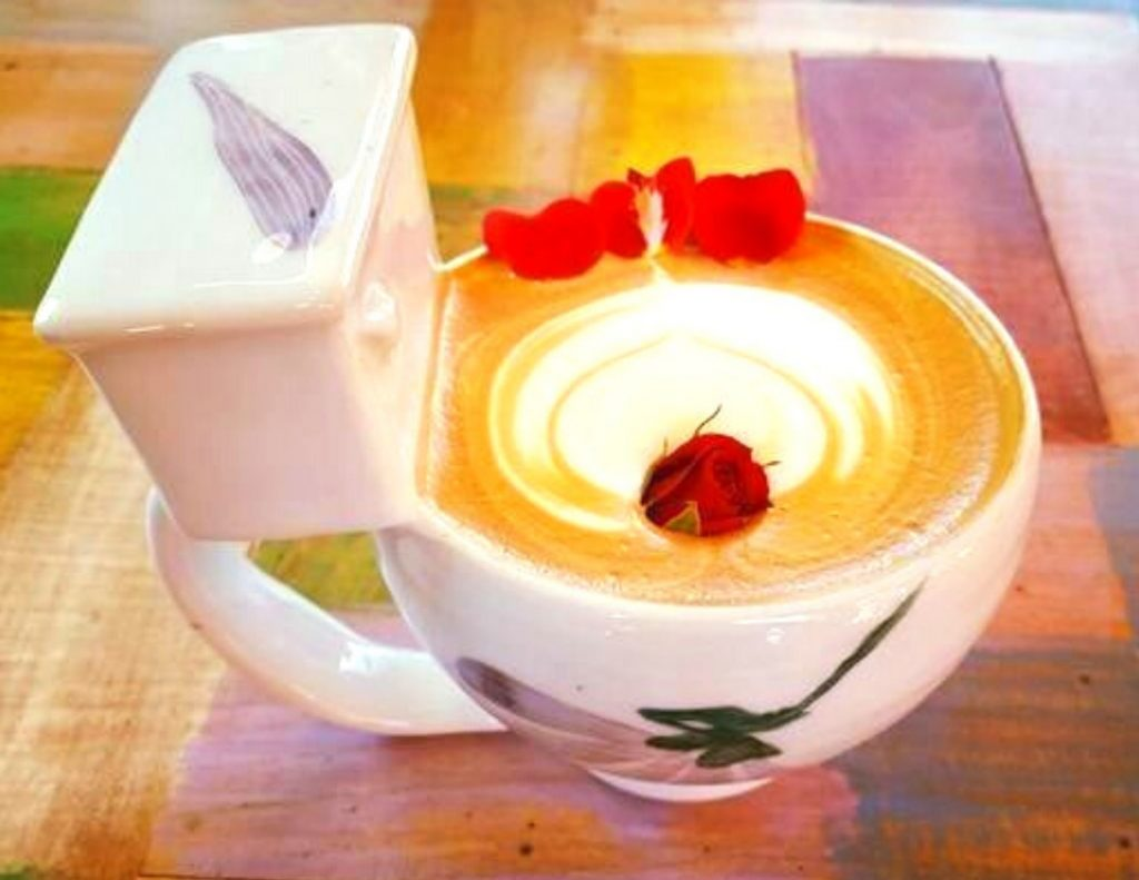 Rose Latte from the Poop Cafe, Seoul, South Korea