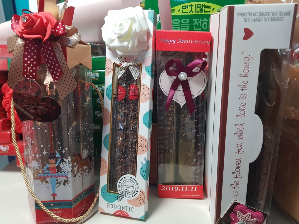 Many gift packs of Pepero on sale in Korea