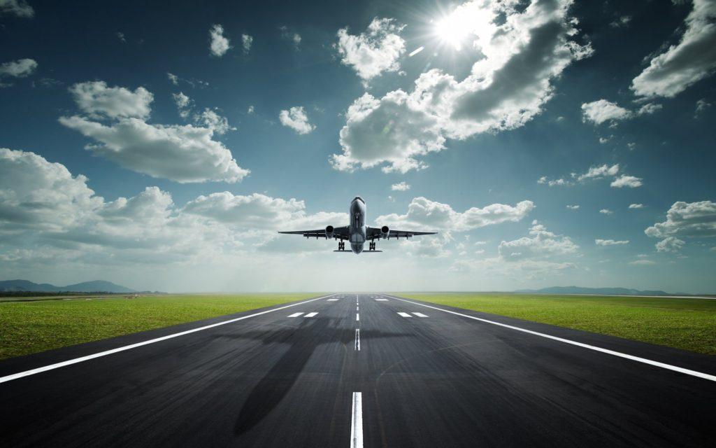 Plane Arriving at Incheon Airport in Korea