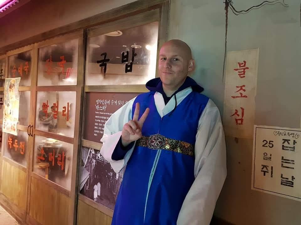 Joel wearing hanbok