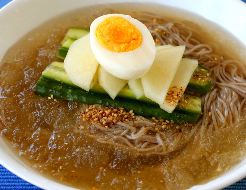 Naengmyeon cold noodles are perfect in summer in Korea