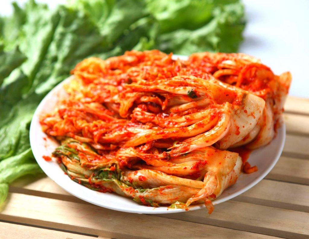 A plate of Korean kimchi, a traditional Korean food.
