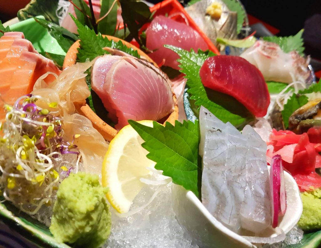 A selection of hwareo hoe raw fish in Korea