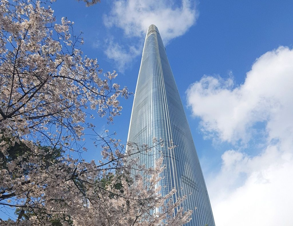 Cherry blossoms and the Lotte World Tower in Jamsil, Seoul