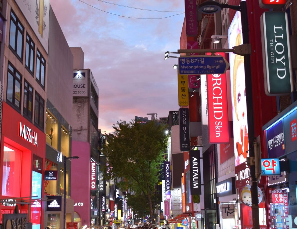 Myeongdong, a great place to stay in Seoul during a one week itinerary for Korea.