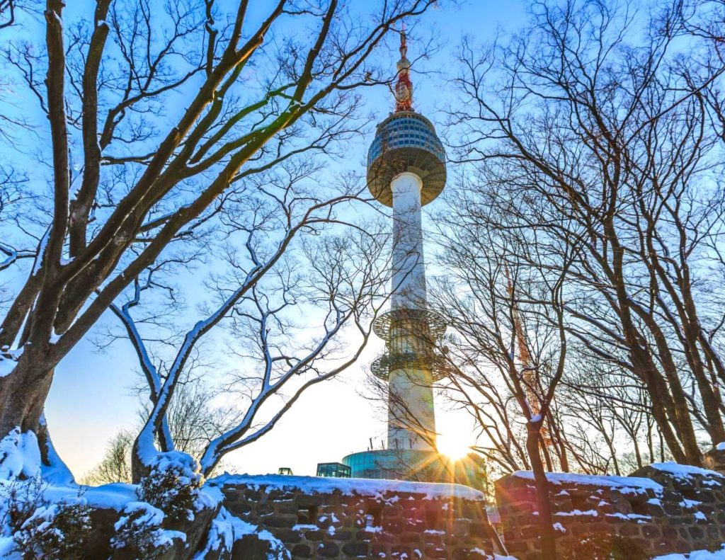 N Seoul Tower is where to see snow in Seoul from up high