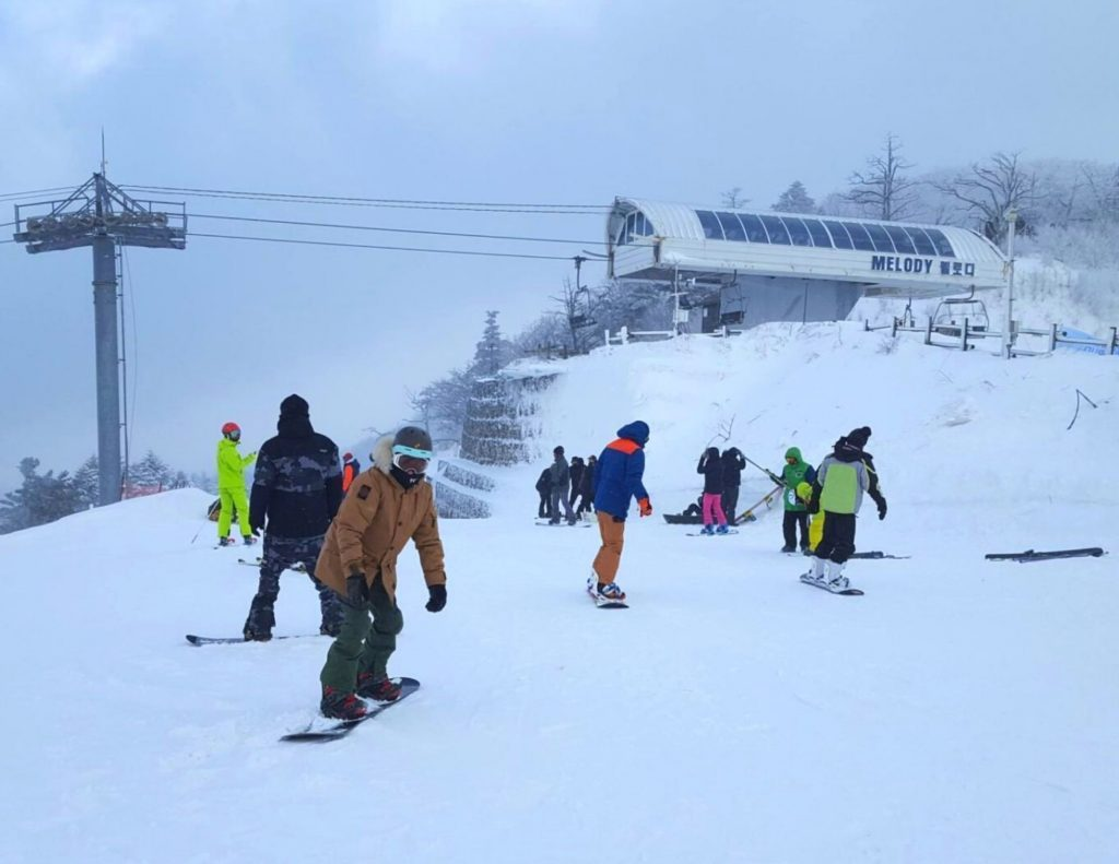 Skiing & Snowboarding is a great way to enjoy the snow in Korea.