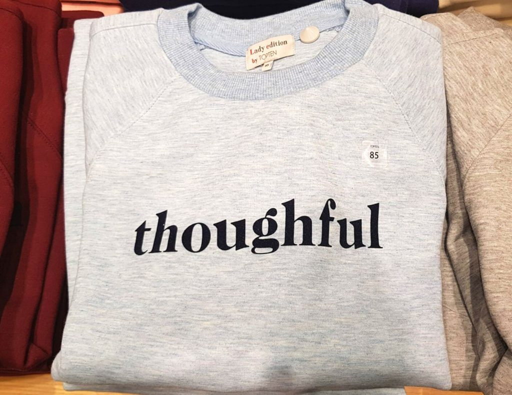 Funny Korean translation on a jumper - thoughful