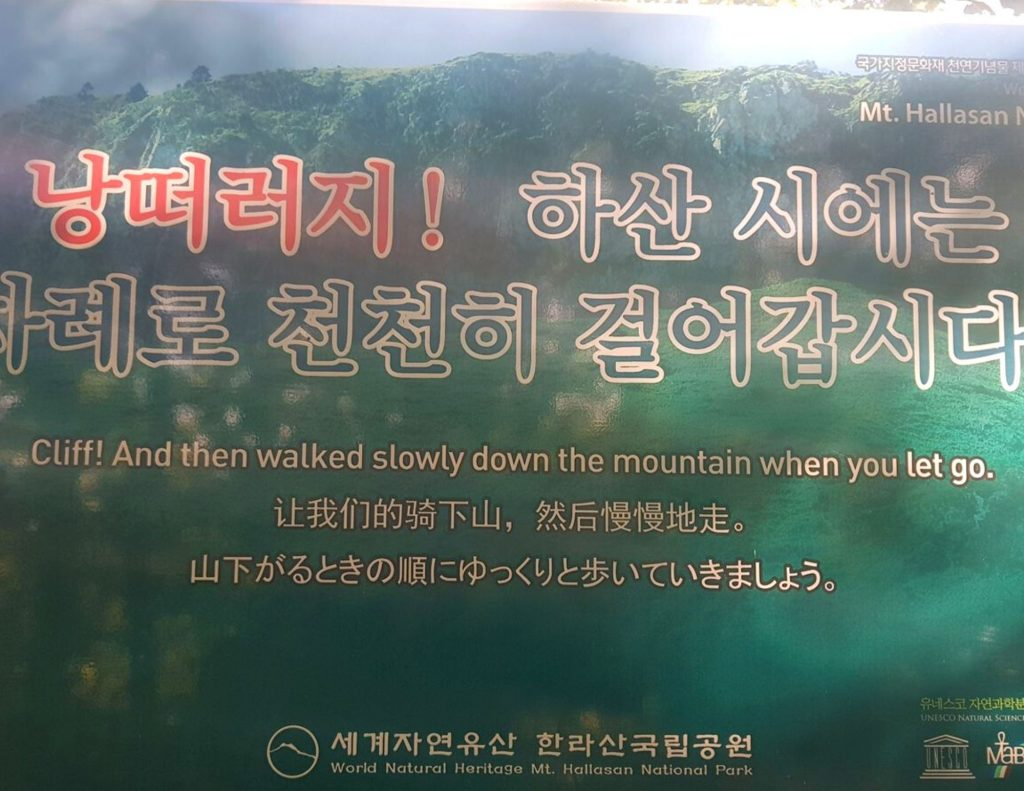 Cliff Warning Sign In Korean