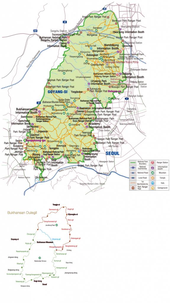 Map of Bukhansan National Park in Korea