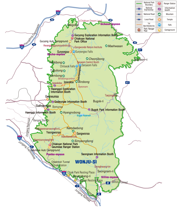 Map of Chiaksan National Park in Korea