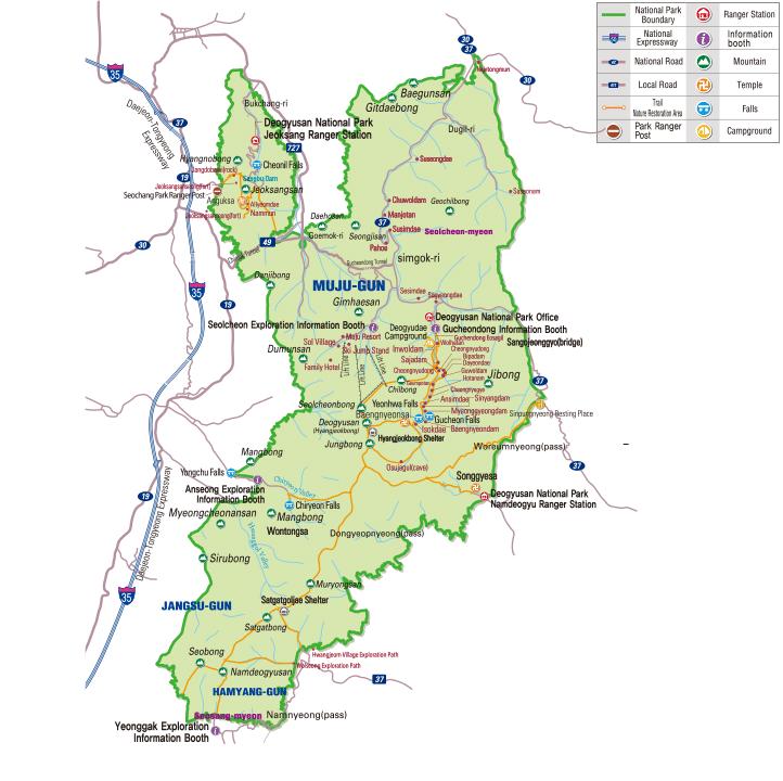 Map of Deogyusan National Park in Korea