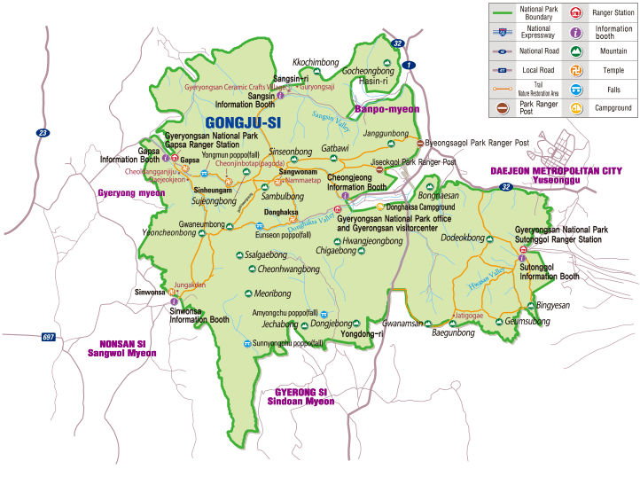Map of Gyeryongsan National Park in Korea