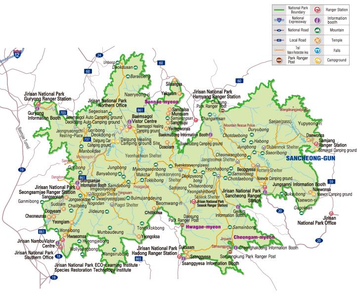 Map of Jirisan National Park in Korea