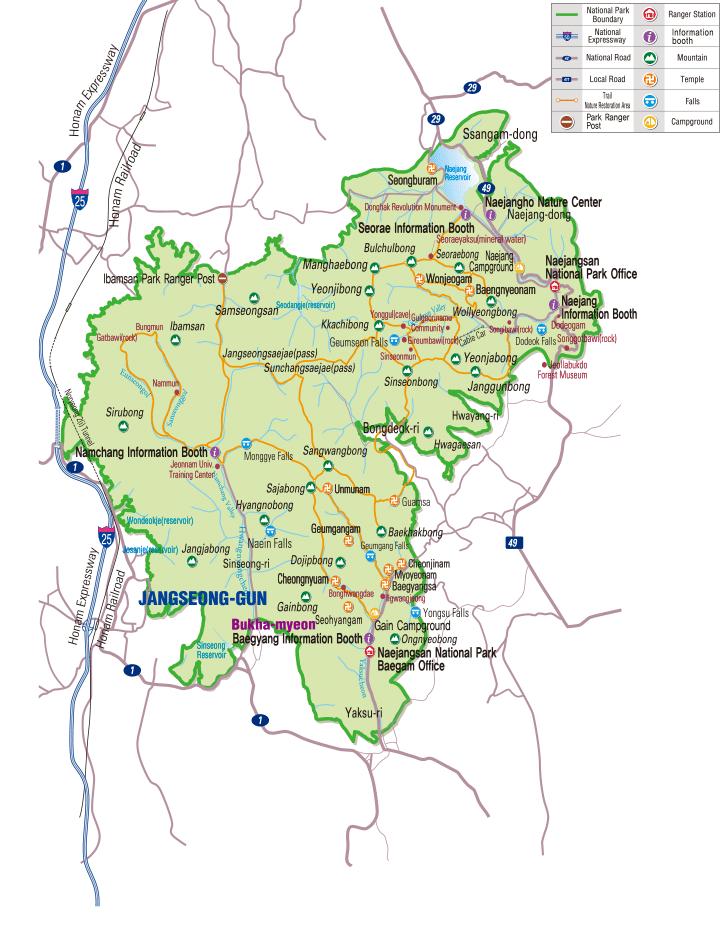 Map of Naejangsan National Park in Korea