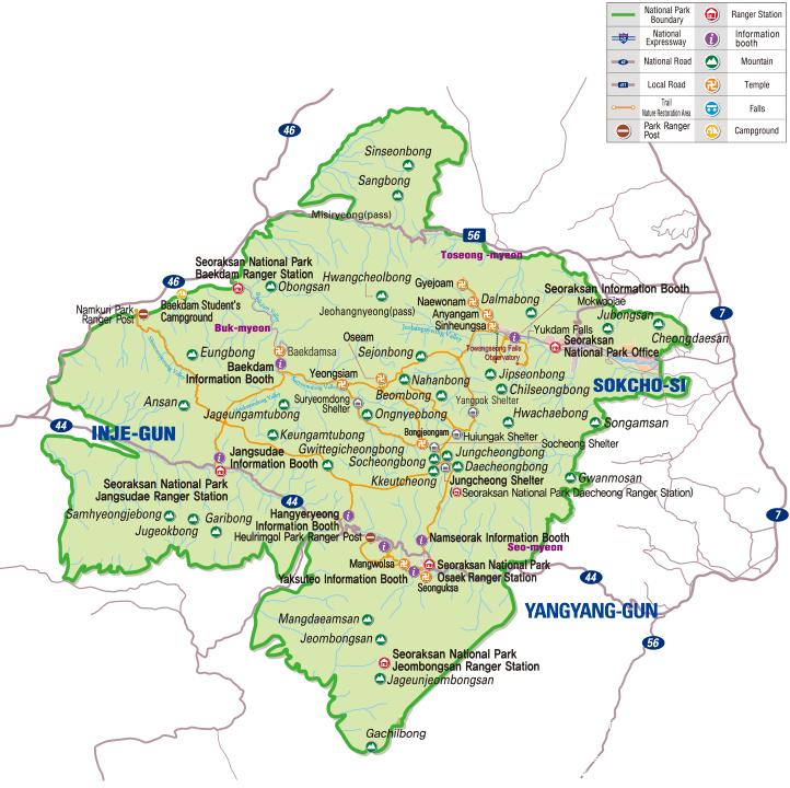 Map of Seoraksan National Park in Korea