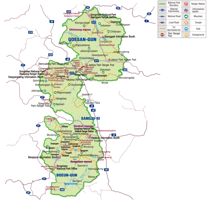 Map of Sognisan National Park in Korea