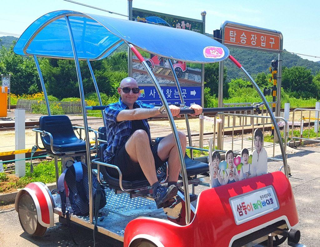 Joel on a rail bike near Wonju, Korea
