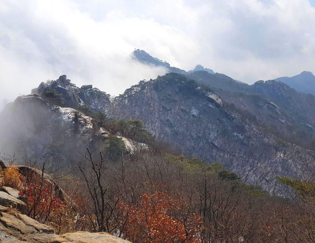 Cloudy views of Bukhansan in Seoul, Korea