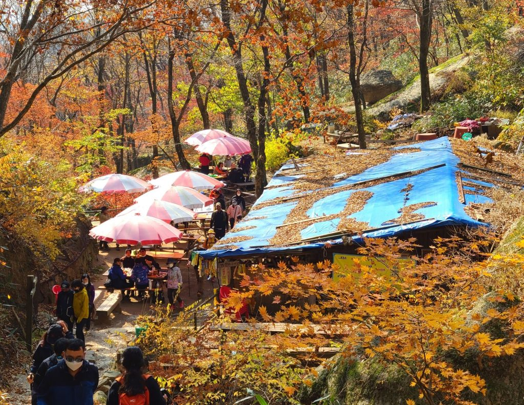 Get food in the mountains whilst you hike in Korea