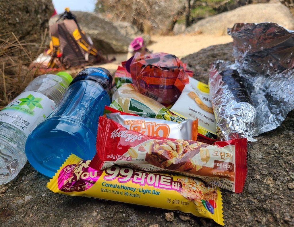 Joel's food for hiking in Korea