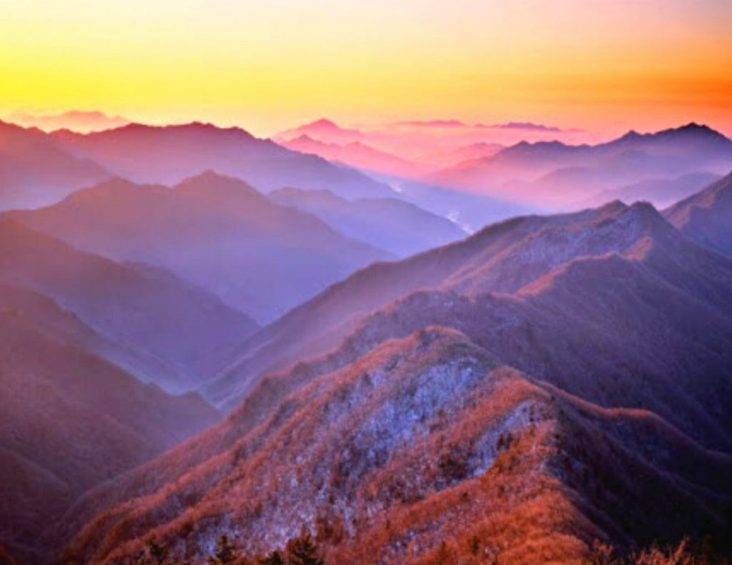 Sunrise in the Korean mountains