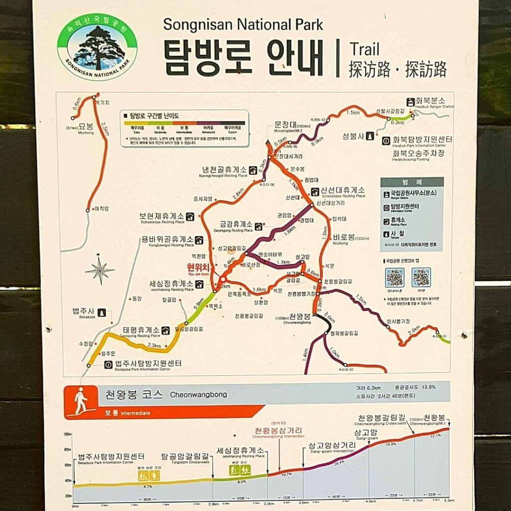 Korean Hiking Guide and Trail Route for Sognisan National Park