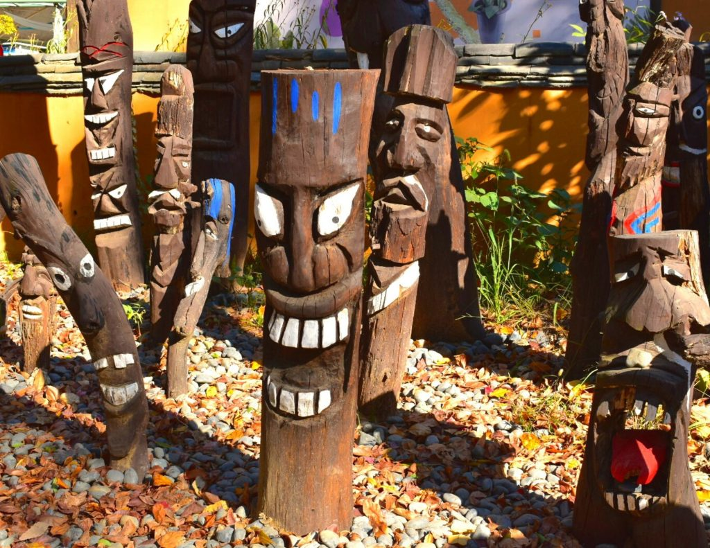 Wooden statues on display on Nami Island